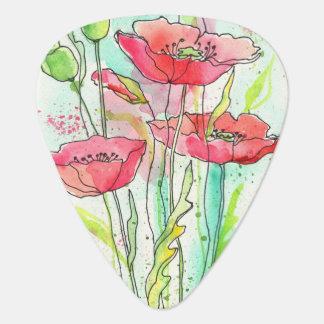Painted watercolor poppies guitar pick