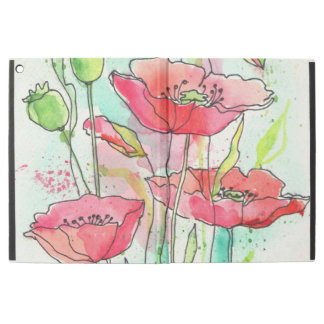 "Painted watercolor poppies iPad pro 12.9"" case"