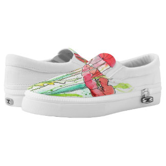 Painted watercolor poppies printed shoes