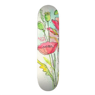 Painted watercolor poppies skateboard deck