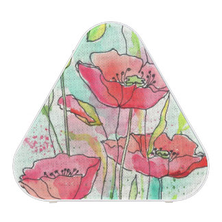 Painted watercolor poppies speaker