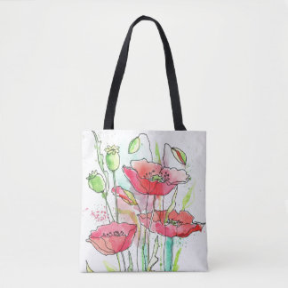 Painted watercolor poppies tote bag