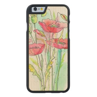 Painted watercolor poppies carved® maple iPhone 6 slim case