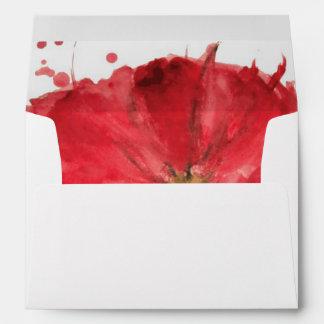 Painted watercolor poppy flower 2 envelope