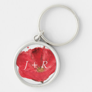 Painted watercolor poppy flower 2 keychain
