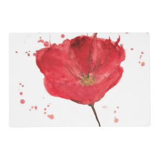 Painted watercolor poppy flower 2 placemat