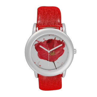 Painted watercolor poppy flower 2 wrist watch