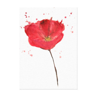 Painted watercolor poppy flower canvas print