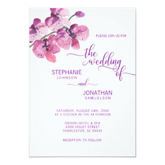 Painted Watercolor Purple Floral Orchids Wedding Card