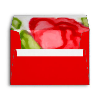 Painted Watercolor Red Roses Envelope