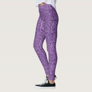 Painted White Curves on Violet Abstract Pattern Leggings