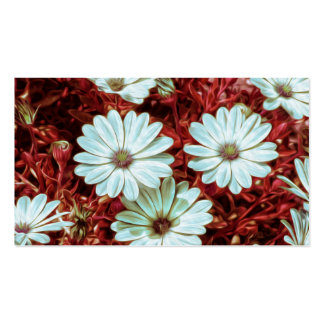 Painted White Daisie Flowers and Foliage Print Business Card