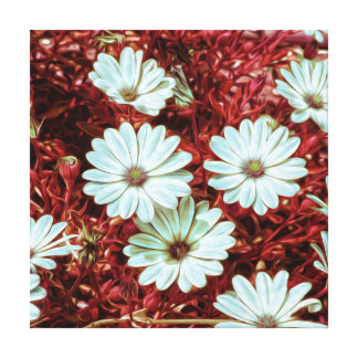 Painted White Daisie Flowers and Foliage Print Canvas Prints