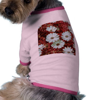 Painted White Daisie Flowers and Foliage Print Dog Clothing