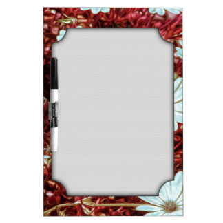 Painted White Daisie Flowers and Foliage Print Dry-Erase Whiteboards