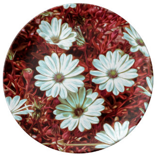 Painted White Daisie Flowers and Foliage Print Porcelain Plate