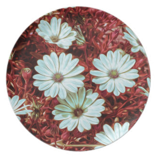 Painted White Daisie Flowers and Foliage Print Party Plate