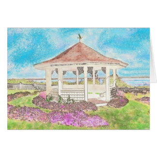Painted White Gazebo In Cape Cod Greeting Card