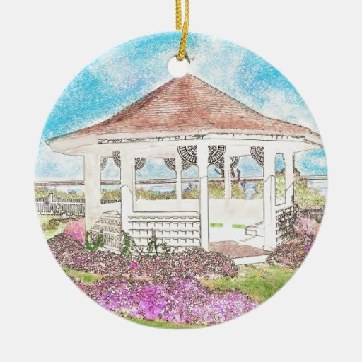 Painted White Gazebo In Cape Cod Double-Sided Ceramic Round Christmas Ornament