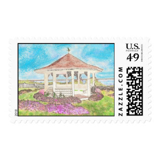 Painted White Gazebo In Cape Cod Postage Stamp