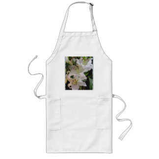 Painted White Lily Long Apron