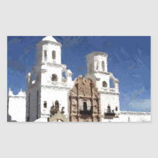 Painted White Mission Rectangular Sticker