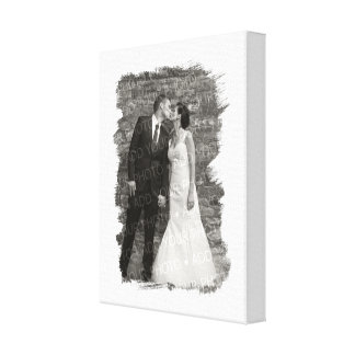 Painted White Personalized (Wedding) Photo Frame Canvas Print