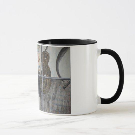 Painted Window Scene Cat And Horse Mug