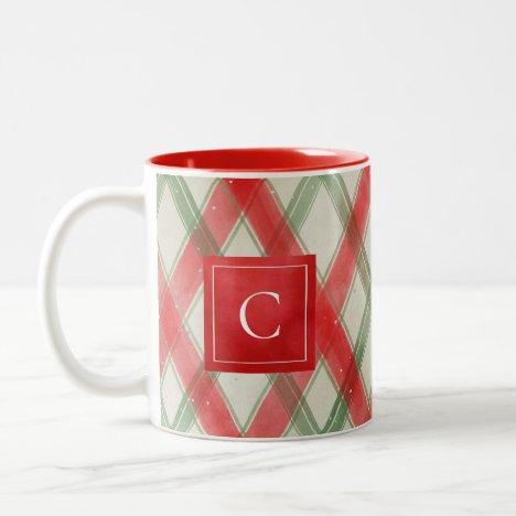 Painted Winter Plaid Monogram Two-Tone Coffee Mug