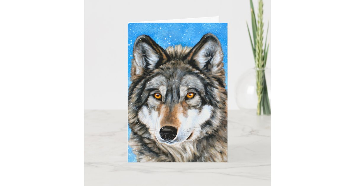 Painted Wolf Christmas Cards | Zazzle.com