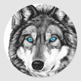 Painted Wolf Grayscale Blue Eyes Classic Round Sticker