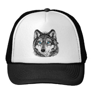 Painted Wolf Grayscale Blue Eyes Mesh Hat