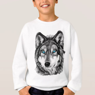 Painted Wolf Grayscale Blue Eyes Sweatshirt