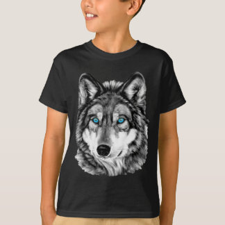 Painted Wolf Grayscale Blue Eyes T-Shirt