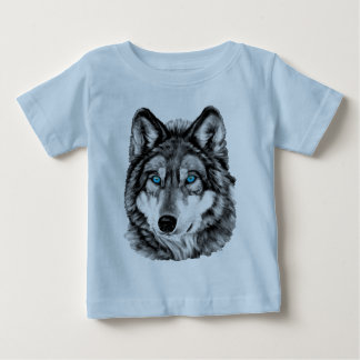 Painted Wolf Grayscale Blue Eyes Tee Shirt