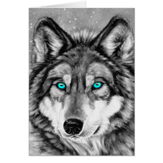 Painted Wolf Grayscale Season's Greetings Card