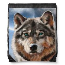 Painted Wolf in Moonlight Backpack