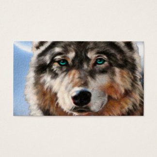 Painted Wolf in Moonlight Business Card