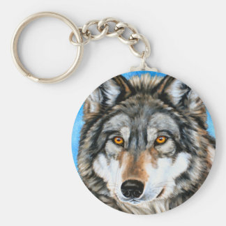 Painted Wolf Keychain