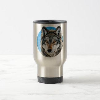 Painted Wolf 15 Oz Stainless Steel Travel Mug