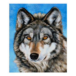 Painted Wolf Poster