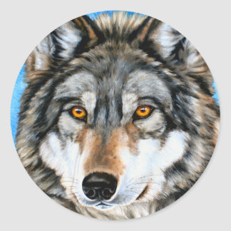 Painted Wolf Classic Round Sticker