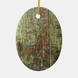 Painted wood distressed grunge colourful cool red ceramic ornament