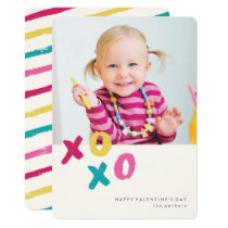Painted XOXO Valentine's Day Card - Turquoise