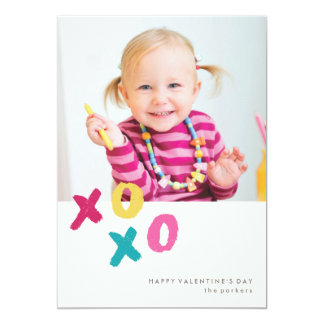 """Painted XOXO Valentine's Day Card - Turquoise 5"""" X 7"""" Invitation Card"""