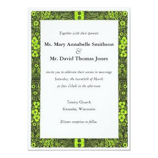 Painted Yellow Flower Border Wedding Invitation