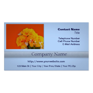 Painted Yellow Flowers on Orange Double-Sided Standard Business Cards (Pack Of 100)