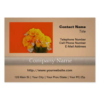 Painted Yellow Flowers on Orange Large Business Cards (Pack Of 100)