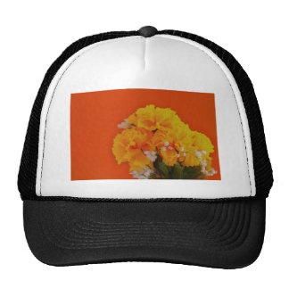 Painted Yellow Flowers on Orange Trucker Hat
