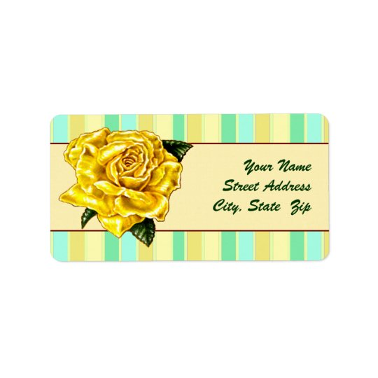 Painted Yellow Rose Label